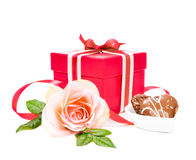 Gift box, a rose and cookies on white background Stock Photography