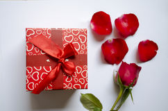 Gift box and rose. Flower white background Stock Image