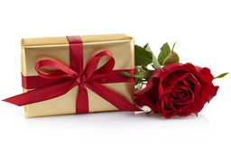 Gift box and rose Royalty Free Stock Photography
