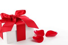Gift box and rose petal Stock Photo