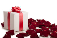 Gift box, rose petals on white background. Stock Photography