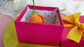 Gift box, rose , plate, slow motion elegant romance surprise. Gift box rose plate slow motion elegant surprise romance