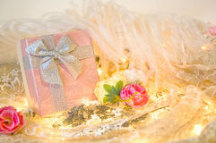 Gift box with roses and feather Royalty Free Stock Images