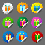 Gift box round label set Royalty Free Stock Photos