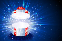Gift Box Round Open Explosion Firework Shine Background Christmas Blue Royalty Free Stock Images
