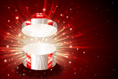 Gift Box Round Open Explosion Firework Shine Background Christmas Red. Open gift box with shining exploding firework from glitter for decoration of theme of Stock Image