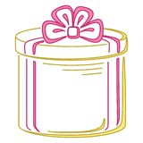 Gift box round, pictogram Stock Photo
