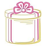 Gift box round, pictogram. Gift box, holiday symbol pictogram, round, isolated Stock Photo