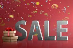 Gift box with Sale sign Royalty Free Stock Images