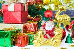 Gift box santa and Christmas tree toy decoration. or New Year co royalty free stock photos
