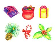 Gift box and Santa Claus`s bag full of presents, holly bunch with red berries and striped candy cane, pine with cone royalty free illustration
