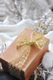 Gift Box on Scarf Background Stock Photo