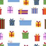 Gift box seamless pattern. Celebration background. Flat style Royalty Free Stock Image