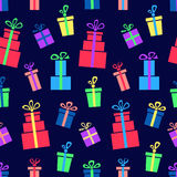 Gift box. Seamless pattern with colorful abstract gift boxes Stock Photography