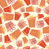 Gift box seamless pattern. Seamless colorful pattern with gift boxes in orange and red colors Royalty Free Stock Photography