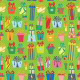 Gift box seamless pattern.Flat Doodle Royalty Free Stock Photo