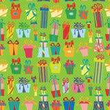 Gift box seamless pattern.Flat Doodle Royalty Free Stock Photo