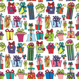 Gift box seamless pattern.Flat Doodle Stock Images