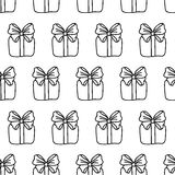 Gift Box Seamless Pattern. Hand drawn thin line icons of present boxes. Cute simple background Stock Image