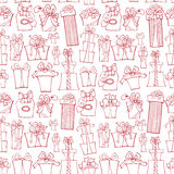 Gift box seamless pattern.Outline Doodle Royalty Free Stock Photos