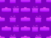 Gift box seamless pattern. Shades of purple, pepper color. Vector. Illustration Royalty Free Stock Photo