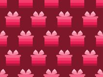 Gift box seamless pattern. Shades of red. Vector. Illustration Royalty Free Stock Photos