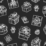 Gift box seamless pattern stock illustration