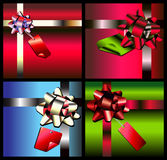 Gift Box Set. With colorful bows and tags Royalty Free Stock Image