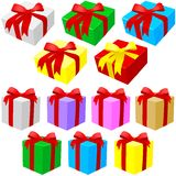 Gift Box Set. Multicolored Boxes, Vector illustration Stock Photos