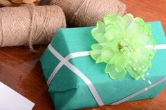 Gift box. Set with bow Royalty Free Stock Photography