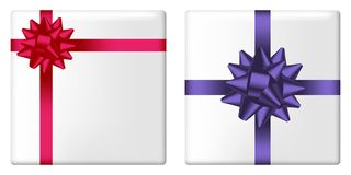 Gift box set with bow and ribbon. Giftbox top view with realistic holiday decorations on package. Vector. Gift box set with bow and ribbon. Giftbox top view Royalty Free Stock Image