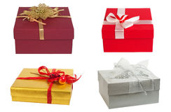 Gift box. Set. Gift boxes decorated with bows and ribbons. Closed. Set. Isolated on white background Stock Image