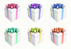 Gift box set with different ribbon colors  Royalty Free Stock Image