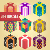 9 gift box set. 9 flat gift box set colorful Stock Photos