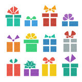 Gift box set. Into a flat style multicolored Stock Photo