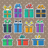 Gift box set. Into a flat style multicolored Stock Image