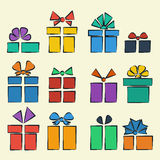 Gift box set. Into a flat style multicolored Stock Photography