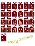 Gift box set with gold foil numbers vector illustration. Advent calendar. Waiting for Christmas countdown. Days till until vector illustration