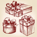 Gift box set hand drawn vector llustration sketch. Gift box set hand drawn vector llustration realistic sketch Royalty Free Stock Images