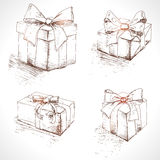 Gift box set. Holiday presents collection Stock Photos