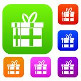 Gift in a box set collection. Gift in a box set icon in different colors isolated vector illustration. Premium collection vector illustration
