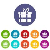 Gift in a box set icons. In different colors isolated on white background Royalty Free Stock Photo