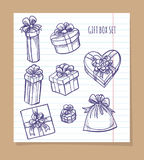 Gift box set on notebook page. Gift box set on line notebook page vector Stock Image