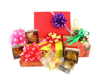 Gift box set and ribbin bow Stock Images