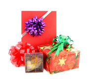 Gift box set and ribbin bow. On white background Stock Photos