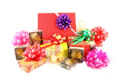 Gift box set and ribbin bow. On white background Stock Photo