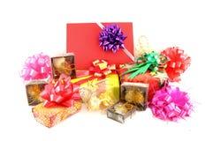 Gift box set and ribbin bow Stock Photo