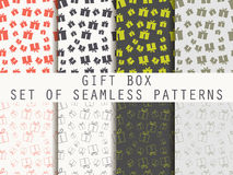 Gift box. Set seamless patterns. Festive pattern for wrapping paper, wallpaper, tiles, fabrics, backgrounds. Vector illustration Stock Photo
