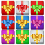 Gift box set. Top view. Of colour boxes. Holiday gift and present. Vector Illustration  on background Stock Photos