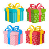 Gift Box Set. Vector Present Boxes. Isolated on White Background Stock Photos